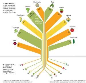 Diminution des variétés au fil des années ...